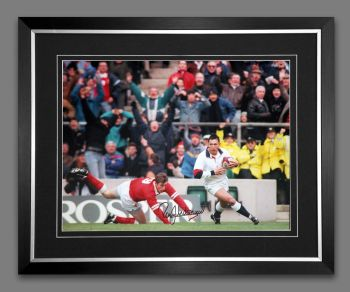 Rory Underwood Hand Signed And Framed 12x16 England Rugby Photograph : B