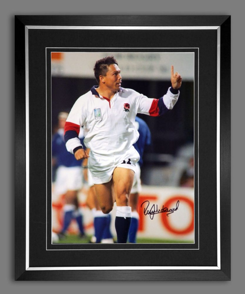 Rory Underwood Hand Signed And Framed 12x16 England Rugby Photograph : D