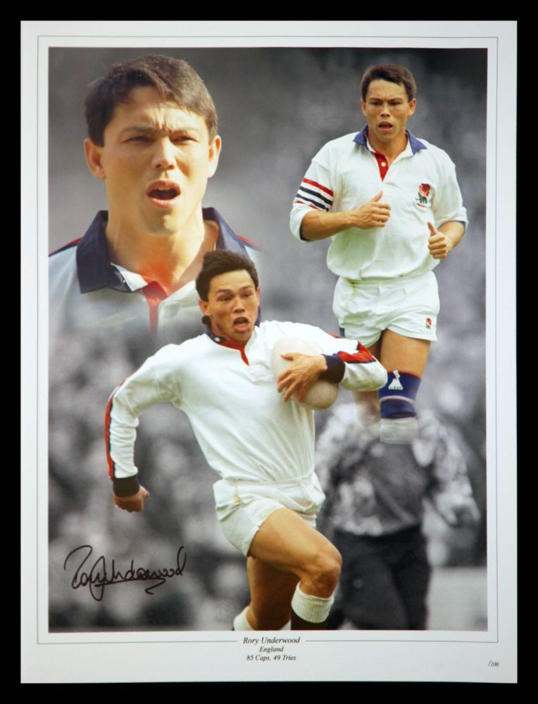 Rory Underwood Hand Signed 12x16 England Rugby Montage