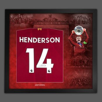 Jordan Henderson Hand Signed Liverpool Fc Football Shirt In Framed Picture Presentation..