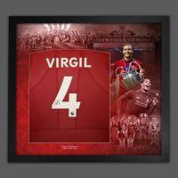 Virgil Van Dijk Hand Signed Liverpool Fc Football Shirt In Framed Picture Presentation..