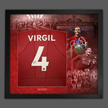 Virgil Van Dijk Hand Signed Liverpool Fc Football Shirt In Framed Picture Presentation..