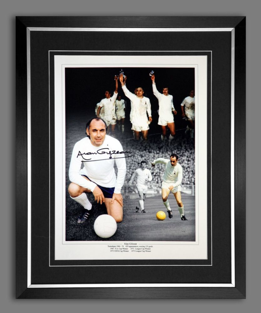 Alan Gilzean  Hand Signed And Framed Tottenham Hotspurs 12x16 Montage
