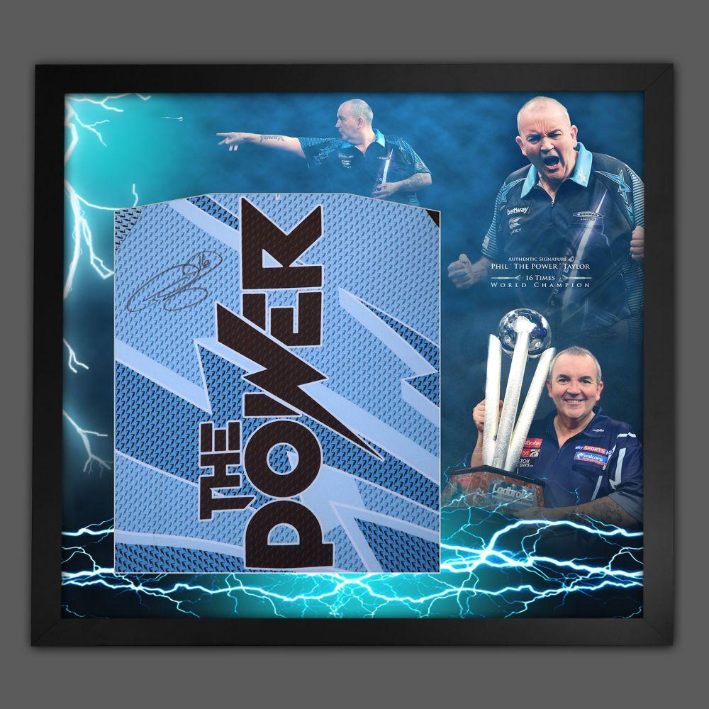 Phil Taylor Hand Signed Back Darts Shirt In Framed Picture Presentation..