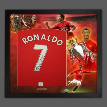 Cristiano Ronaldo Hand Signed Manchester United Football Shirt In Framed Picture Presentation..