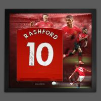 Marcus Rashford Hand Signed Manchester United Football Shirt In Framed Picture Presentation..