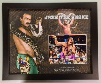 Jake The Snake Roberts Hand Signed And Framed Wrestling Photograph In A Framed Presentation: A