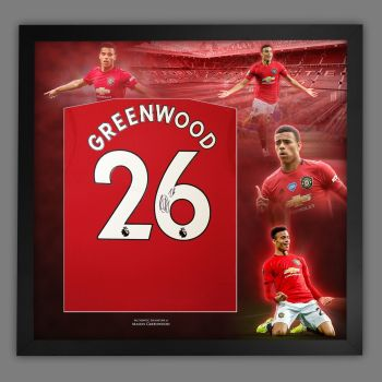 Mason Greenwood Hand Signed Manchester  United Football Shirt In Framed Picture Presentation..