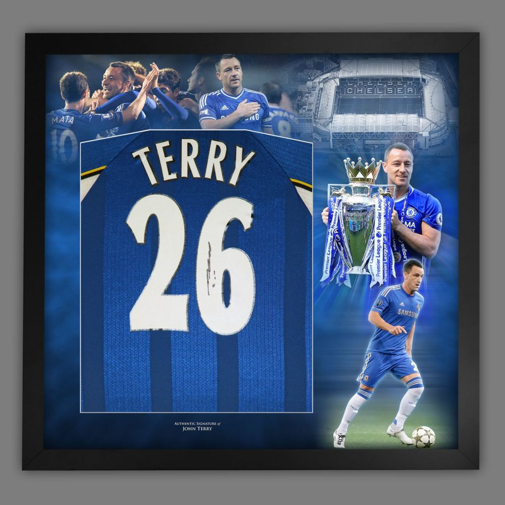 John Terry Hand Signed Chelsea Fc Football Shirt In Framed Picture Presen