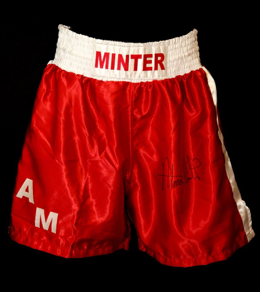 Alan Minter Signed Custom Made Boxing Trunks