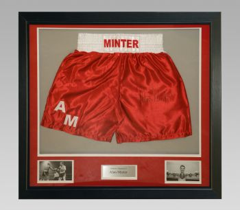 Alan Minter Signed Custom Made Boxing Trunks In A Frame Presentation