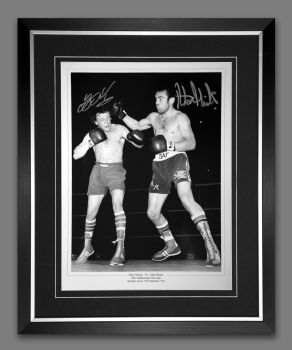 Alan Minter And Tony Sibson Dual Signed And Framed Boxing 12x16 Photograph