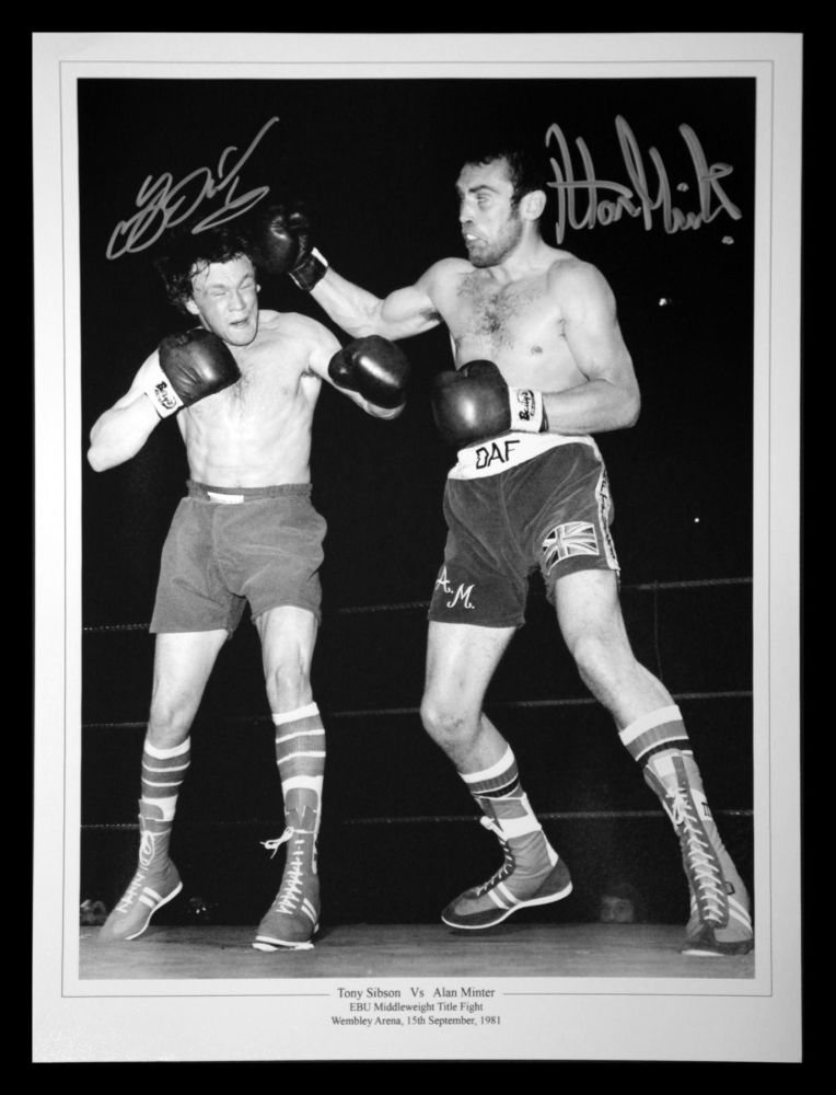 Alan Minter And Tony Sibson Dual Signed Boxing 12x16 Photograph