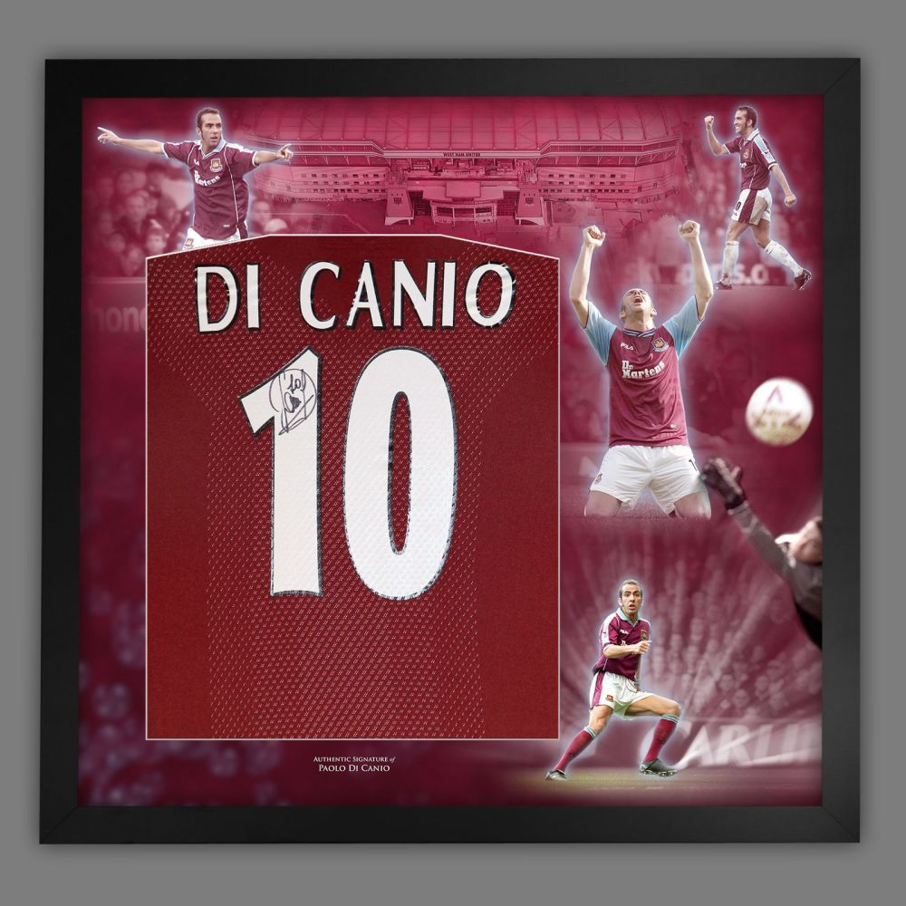 Paolo Di Canio Signed West Ham United Football Shirt In Framed Picture
