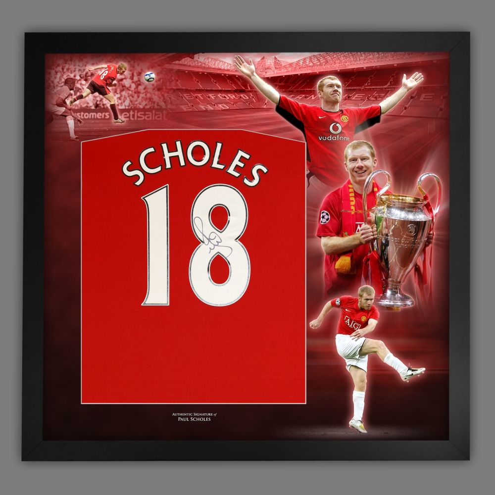 Paul Scholes Signed Manchester United Football Shirt In Framed Picture Pr