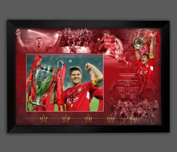 Steven Gerrard  Hand Signed Liverpool 12x16  Photograph In A Framed Presentation