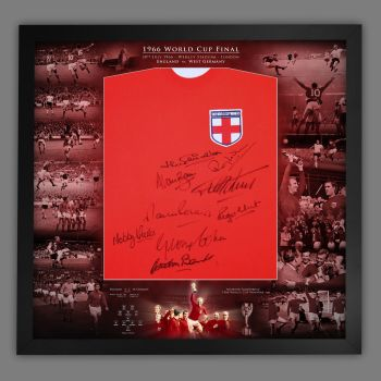 England 1966 Football Shirt Signed by 9  In Framed Picture Presentation..
