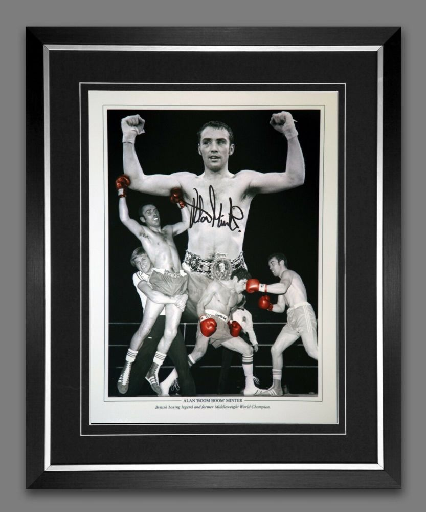 Alan Minter Hand Signed  And Framed 12x16 Boxing Montage
