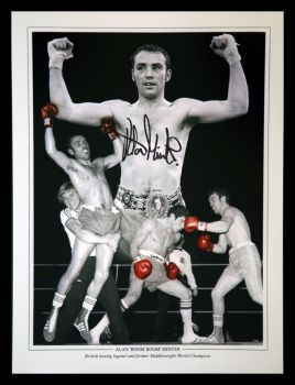 Alan Minter Hand Signed 12x16 Boxing Montage