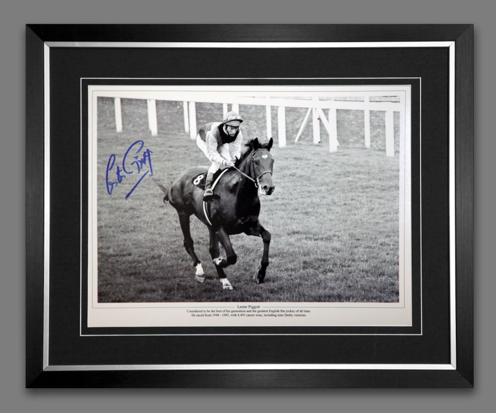 Lester Piggott And Nijinsky Signed And Framed Horse Racing  Photograph : C