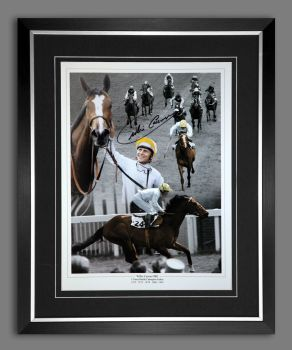 Willie Carson Signed And Framed Horse Racing Montage