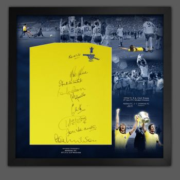 Arsenal 1971 Football Shirt Signed By 9 Players In A Framed Picture Mount Presentation