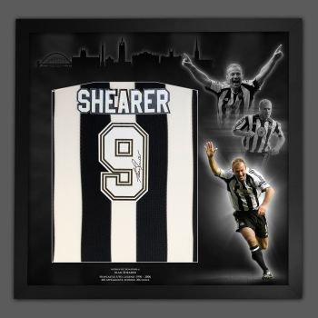 Alan Shearer Newcastle Fc Football shirt In A Framed Picture Mount Presentation
