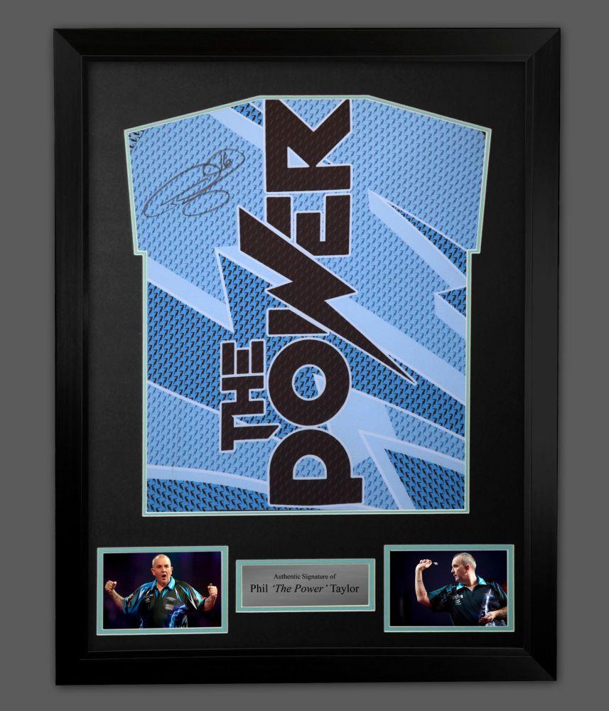Phil Taylor Hand Signed  Blue Back  Official Darts Shirt In A Framed Presen