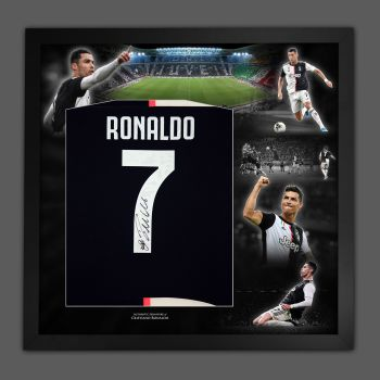 Cristiano Ronaldo Hand Signed  Juventus Fc Football Shirt In A  Picture Mount Frame Presentation