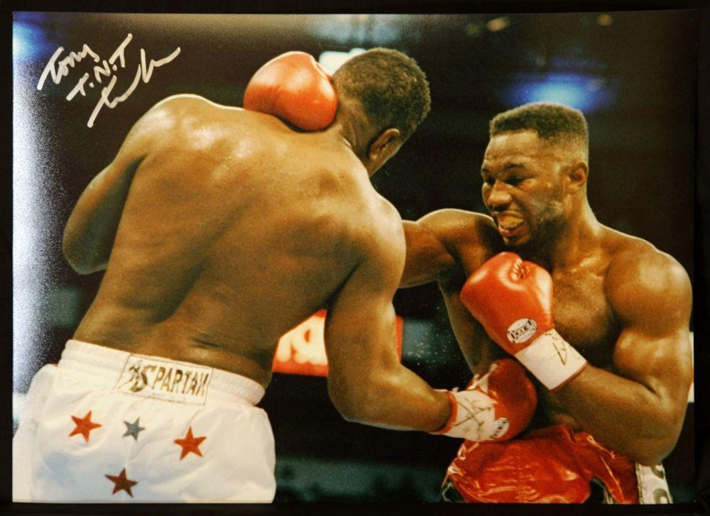 Tont Tnt Tucker Vs Lennox Lewis Hand signed 12x16 Boxing Photogrph