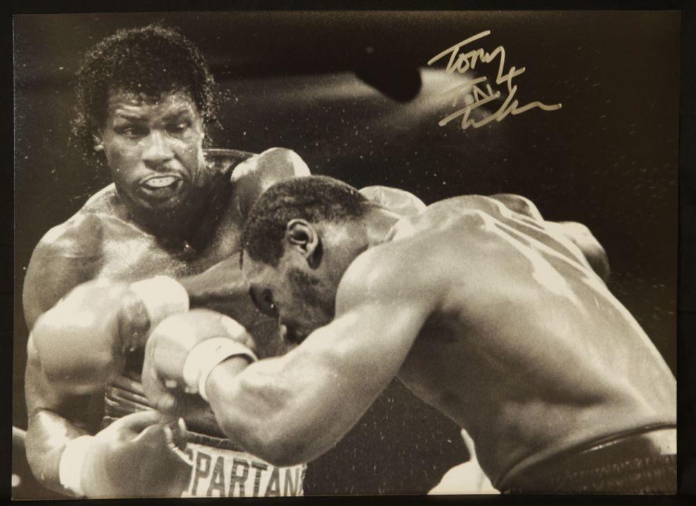 Tont Tnt Tucker Vs  Mike Myson B/W signed 12x16 Boxing Photogrph