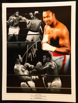 Larry Holmes Signed  Boxing Montage
