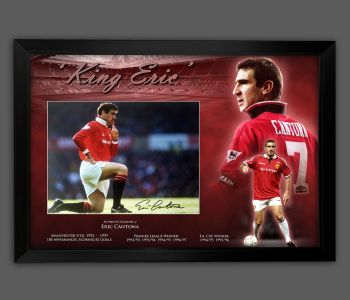 Eric Cantona Signed  Manchester United  Football 12x16 Photograph In A Framed Presentation: A
