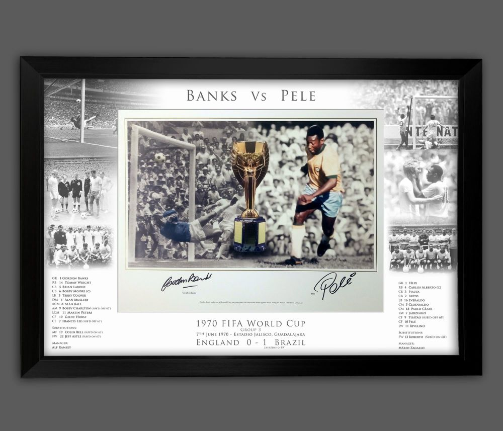 Pele And Gorddon Banks Duel Signed And Framed 12x16  Football  Photograph