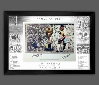 Pele And Gorddon Banks Duel Signed And Framed 12x16  Football  Photograph In A Framed Presentation.