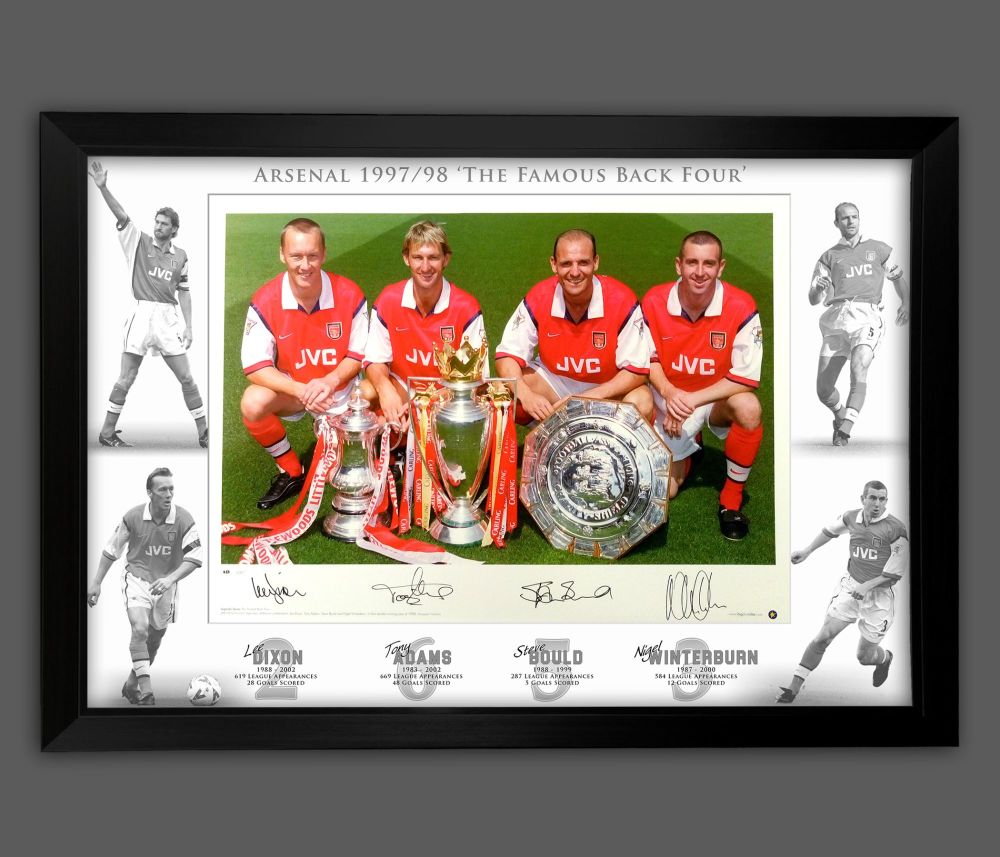Arsenal Back 4 Signed And Framed 12x16  Football  Photograph In A Framed P