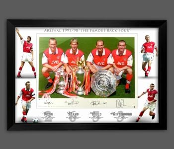 Arsenal Back 4 Signed And Framed 12x16  Football  Photograph In A Framed Presentation. : B
