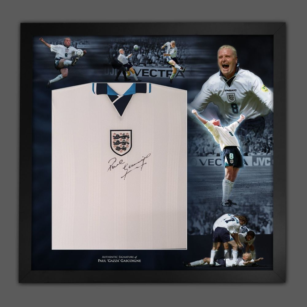 Paul Gascoigne Signed Euro 96 England  Football shirt In A Framed Picture