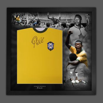 Pele Signed Brazil Football shirt In A Framed Picture Mount Presentation : Massive Signature