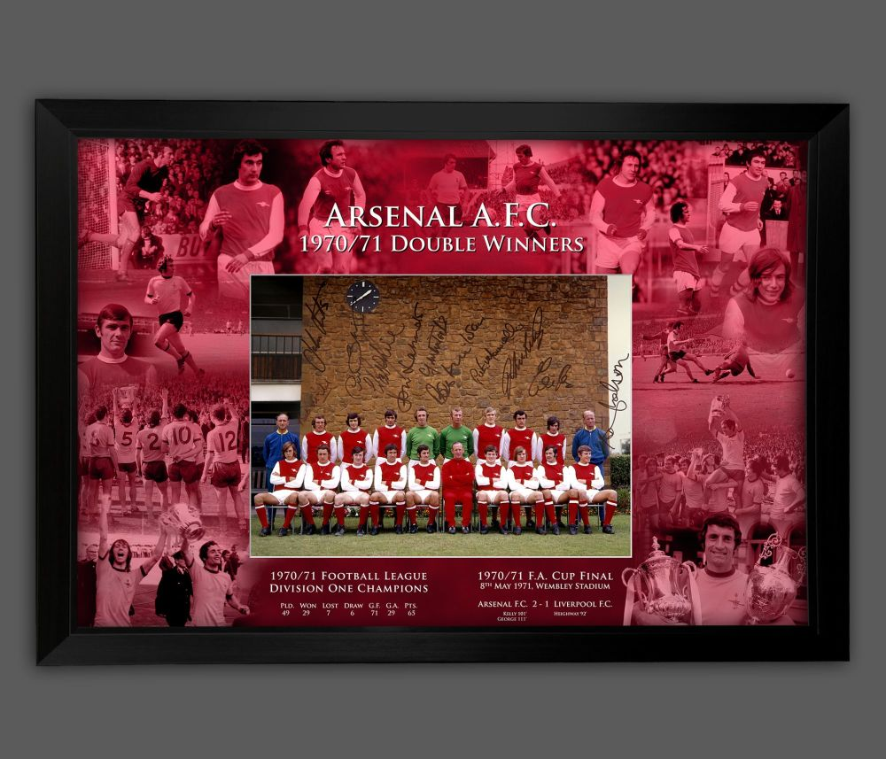Arsenal 1971 Team Group 12x16 Photograph Signed By 12 Players Framed in A