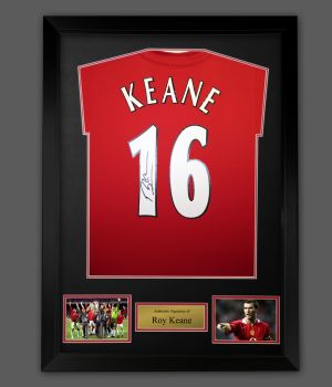 Roy Keane  Hand Signed Manchester United  Football Shirt In A Frame Presentation.