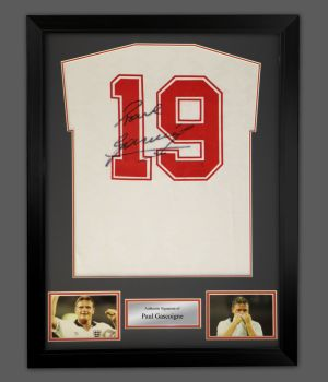 Paul Gascoigne England 90 back Signed Football Shirt In A Framed Display