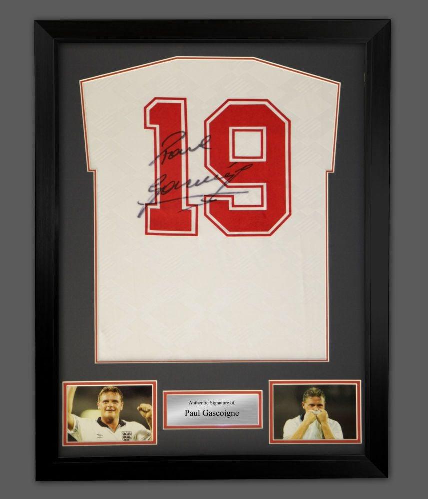 Paul Gascoigne England 96 Signed Football Shirt In A Framed Display