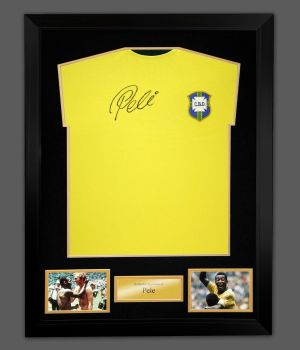 Pele Signed Hand Brazil Football Shirt In A Framed Display : Massive Signature