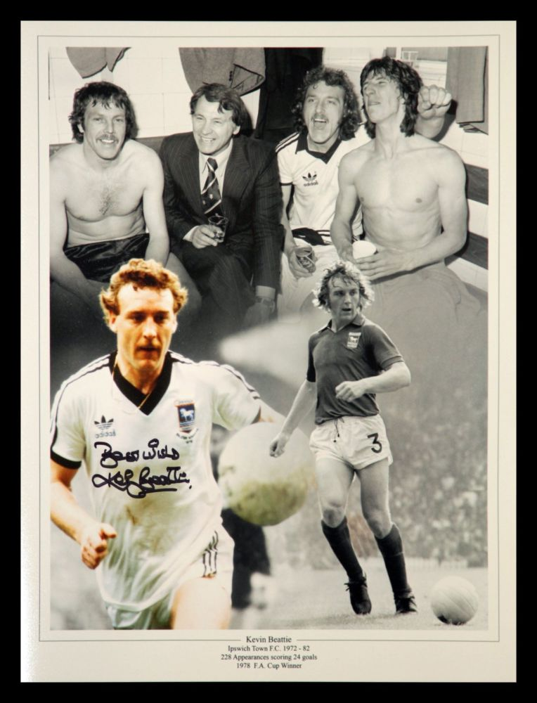 Kevin Beattie Signed Ipswitch Town Fc 12x16 Football Photpgraph