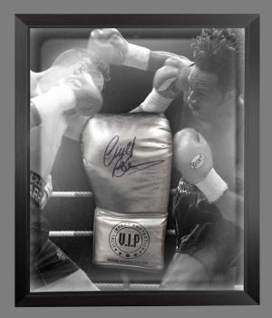 Nigel Benn Hand SignedSilver Vip  Boxing Glove In A Dome Frame : B