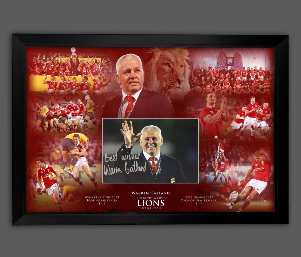Warren Gatland Hand Signed 12x8 British Lions Rugby Photograph In  A Frame