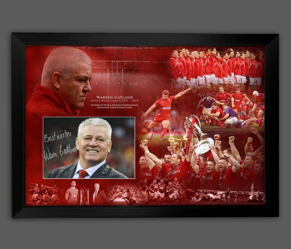 Warren Gatland Hand Signed 12x8 Wales  Rugby Photograph In  A Frame Presen
