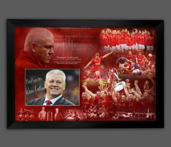 Warren Gatland Hand Signed 12x8 Wales  Rugby Photograph In  A Frame Presentation: