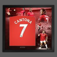 Eric Cantona Signed Manchester United Football Shirt In Framed Picture Presentation